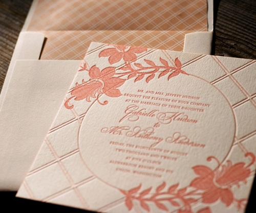 Vintage Floral Letterpress Wedding Stationery