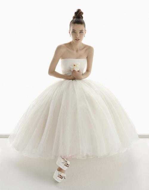 1950s Short Tulle Skirt Wedding Dress