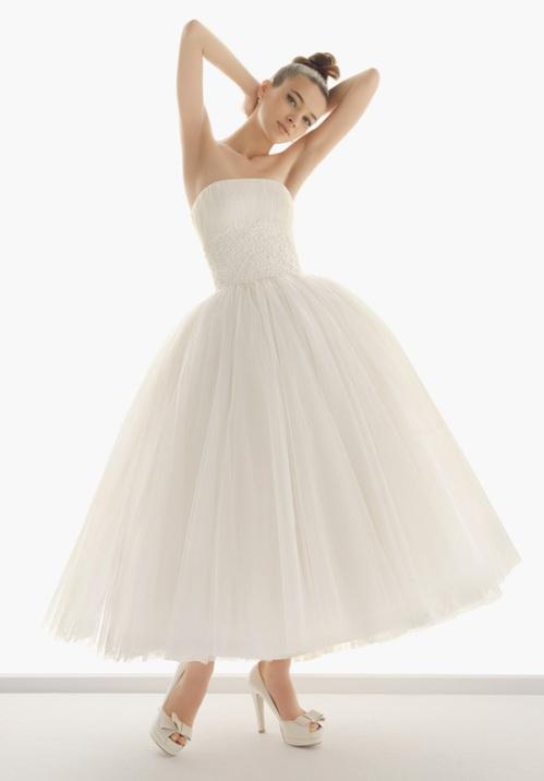 1960s Short Tulle Skirt Wedding Dress