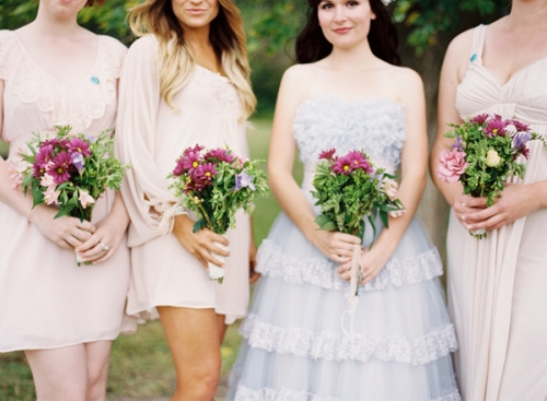 Retro Powder Blue Bride & Bridesmaids