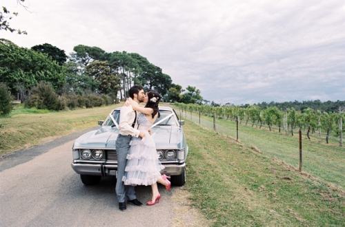 Retro Powder Blue Bride & Groom