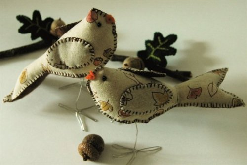 Autumnal Fabric Bird Cake Toppers on Etsy