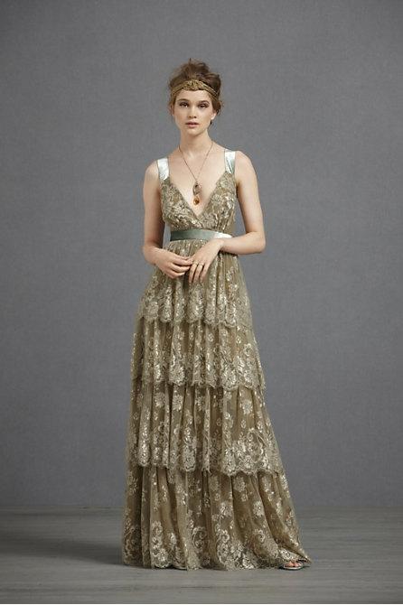 Olive Whimsical Wedding Dress