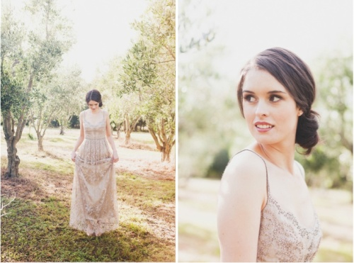 Vintage Blush Pink Bridal Gown