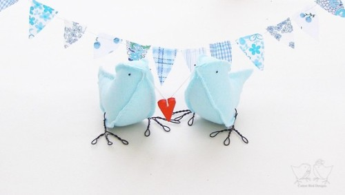 Cotton Blue Bird Toppers on Etsy