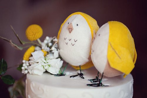 Felt Yellow Bird Cake Toppers on Etsy