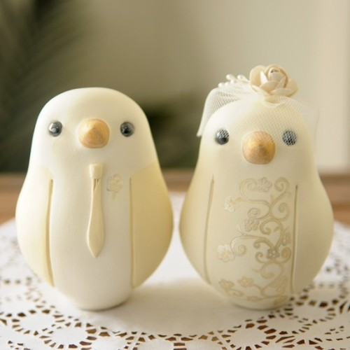 Hand Painted Bird Cake Toppers