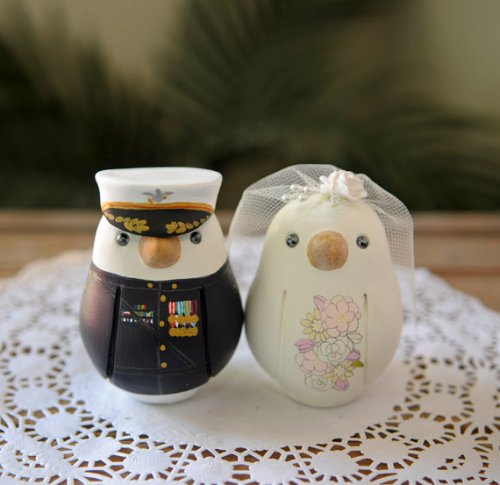 Uniformed Hand Painted Bird Cake Toppers