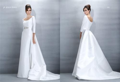Audrey Hepburn esque long sleeve wedding dress