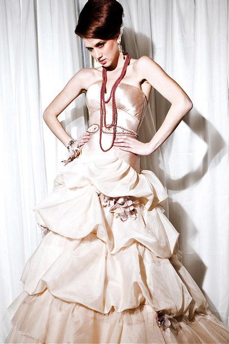 Vintage Inspired Antique Pink Bridal Gown
