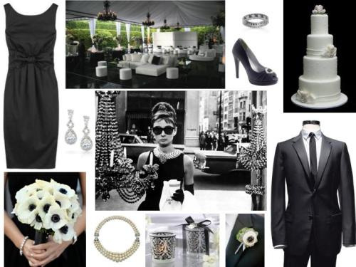 Chic Black & White Breakfast at Tiffany's Moodboard
