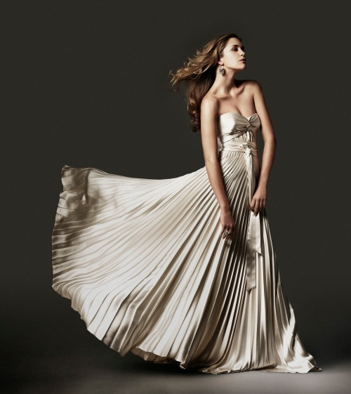 Hollywood Glamour Pleated Skirt Bridal Gown