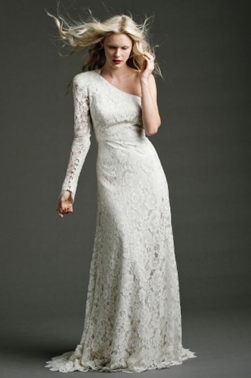 70s Bohemian One Sleeved Lace Bridal Gown