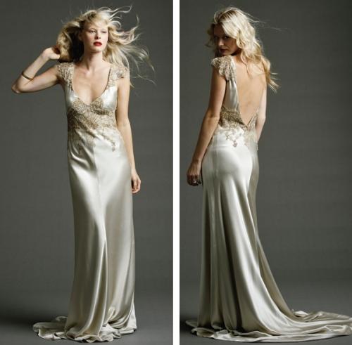 1930s Satin Johanna Johnson Bridal Gown