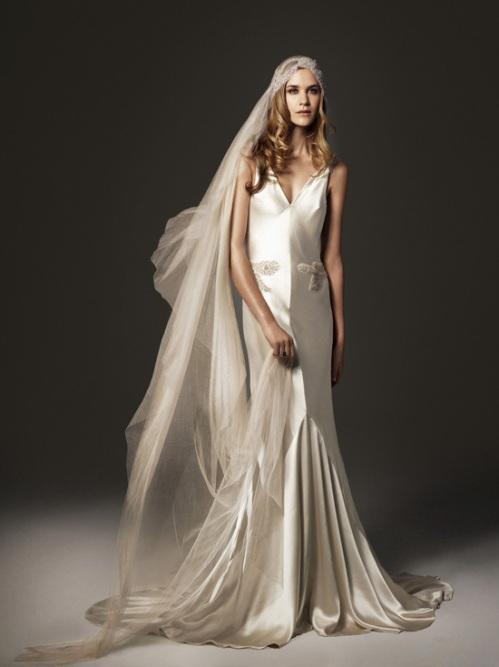1920 Art Deco Satin Bridal Gown