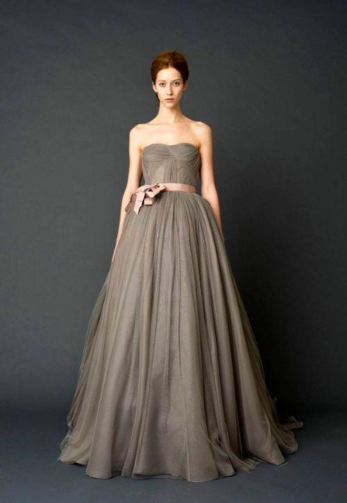 Charcoal Grey Vera Wang Bridal Gown