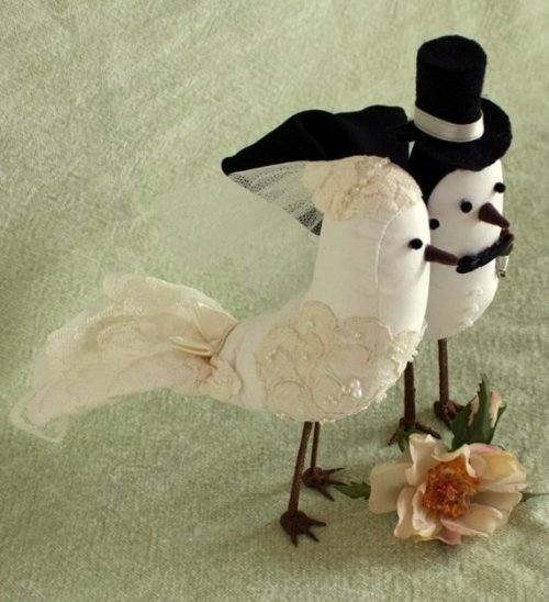 Green & Peach Bird Cake Toppers